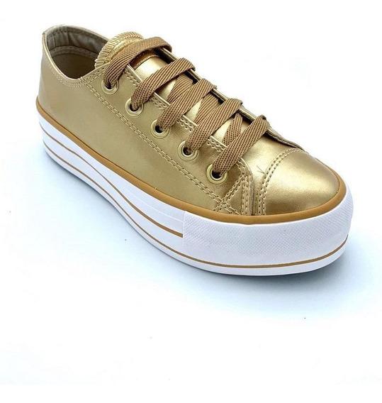 Tênis Capricho Plataforma Likes Class Dourado Cp0599