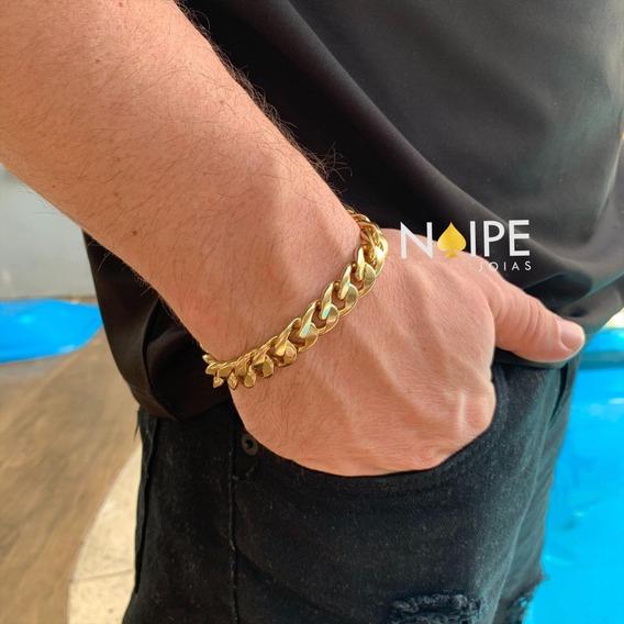 Pulseira Pitbul 13mm Grumet Banhada A Ouro 18k Masculina