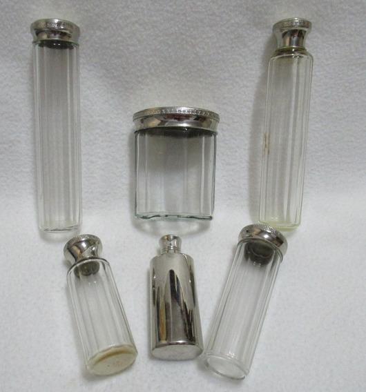 Antiguo Juego Vanity Tocador 6 Frascos Perfume Cristal Metal
