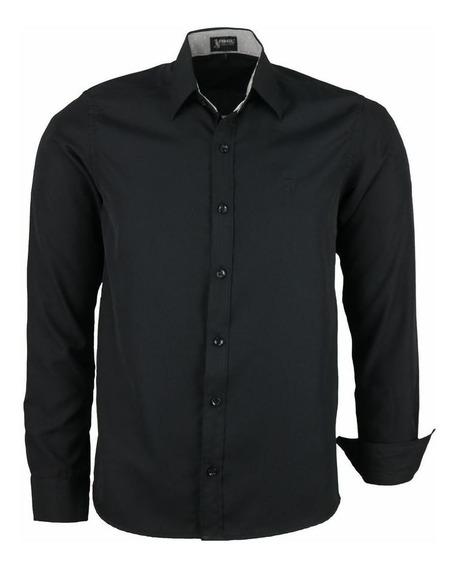 Camisa Dijon Manga Longa Comfort Não Amassa Preto 1581