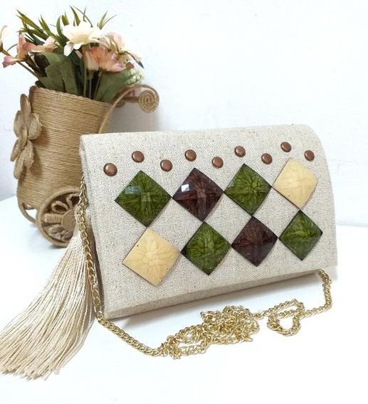 Bolsa Linho Cru E Pedras Verdes