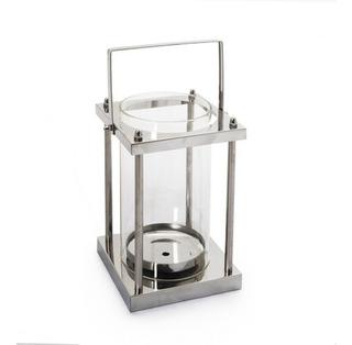 Lanternas Suporte Metal E Vidro Prata 33 X 12 Cm Prata