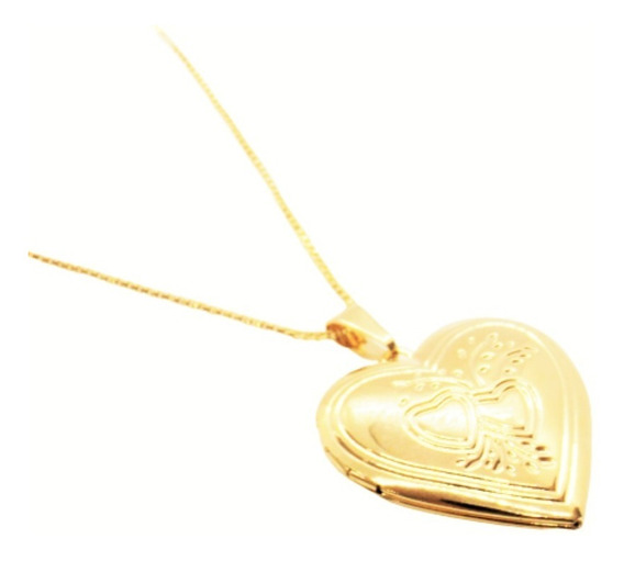 Corrente 50cm Relicário Coração P/ 02 Fotos Banhado Á Ouro