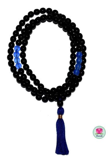 Japa Mala De Cristal Negro Brillante Y Azul Cobalto Mate