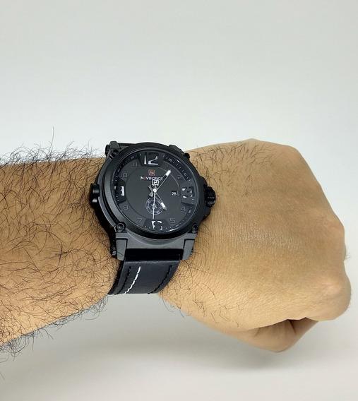 Relógio Masculino Militar Naviforce 9099 Promoção Com Pulseira De Couro Analógico