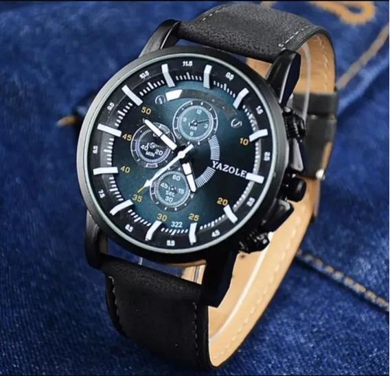 Relógio Yazole Masculino Original Couro Promoção Casual Top