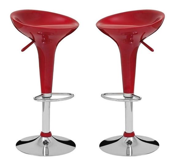 Kit 2 Banquetas Giratória Abs Para Cozinha Bar Vermelha