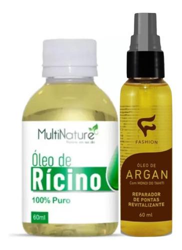 Óleo De Argan Reparador De Pontas + Óleo De Ricino