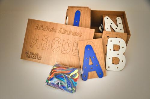 Imagem 1 de 7 de Jogo Alinhavo Alfabeto + Alinhavo Números Mdf - Oferta