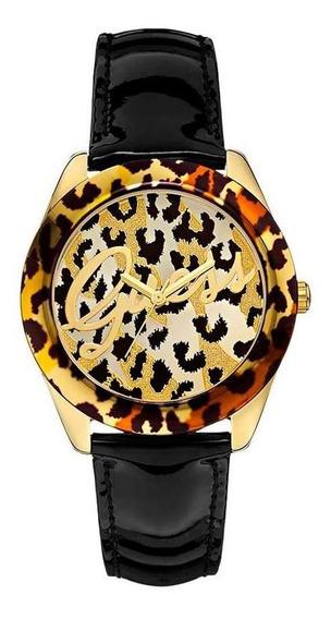 Relógio Guess Feminino Em Couro Preto Com Caixa Na Cor Animal Print - 92536lpgtdc1