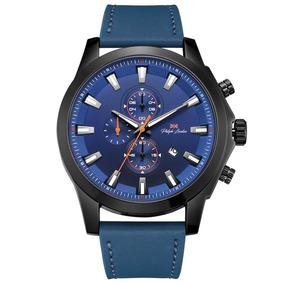 Relogio Masculino Cronógrafo Couro Azul E Preto Pl80015612m