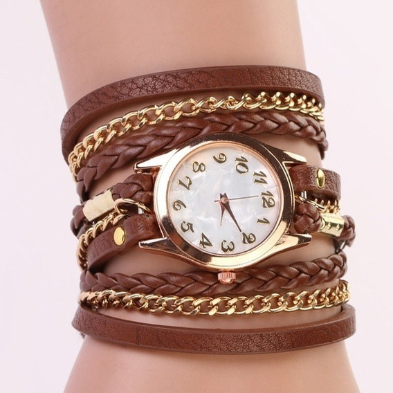 Relógio Pulseira Marrom Com Correntinha Dourada