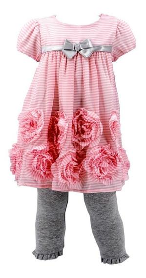 Bonito Vestido De Niña Con Capri En Super Oferta 03670