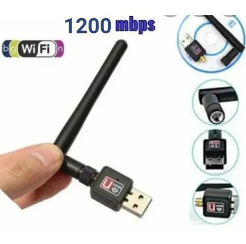 Adaptador Receptor Wifi Usb Inalambrico 1200 Mbps Con Antena