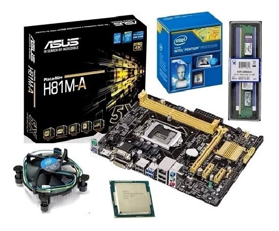Kit Intel Pentiun Dual Core G3250+placa H81+ 4gb Kingston