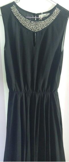 Vestido Para Fiestas Negro Con Apliques Talla S/m Leer