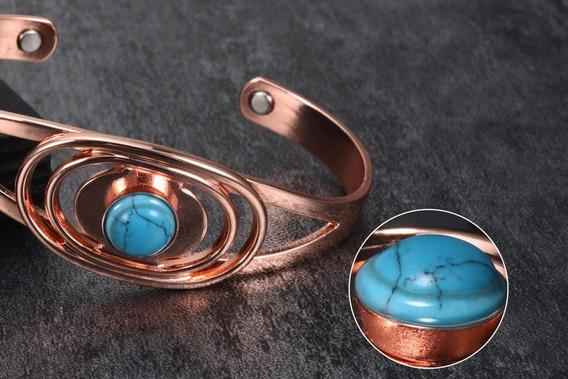 Bracelete Cobre Pedra Azul Turquesa-extr. Magnéticas-pentreg