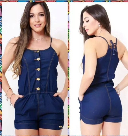 Macacão Jeans Feminina Com Botões Verão Lançamento