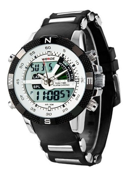 Relógio Masculino Weide Anadigi Wh-1104 Preto E Branco Nf