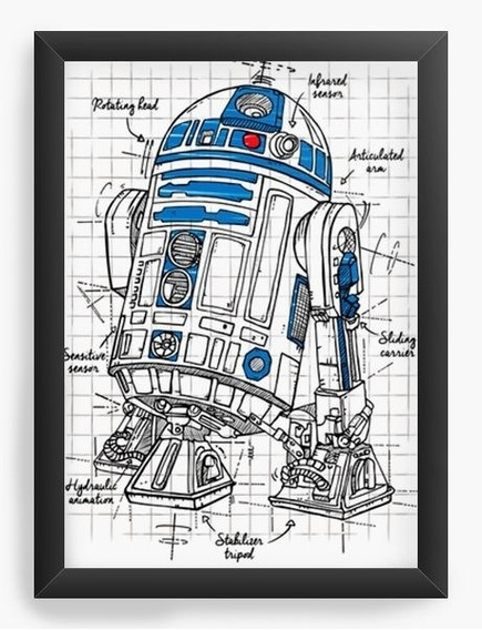 Quadro Decorativo Geekz R2d2 Star Wars