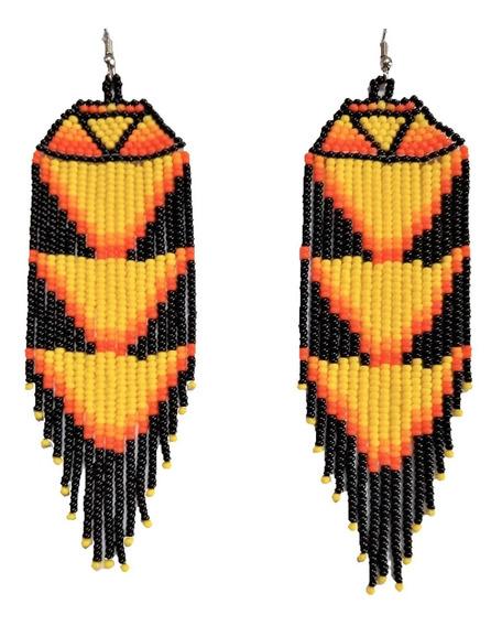 Aretes De Chaquira Amarillo Con Tiras Colgante Arte Huichol