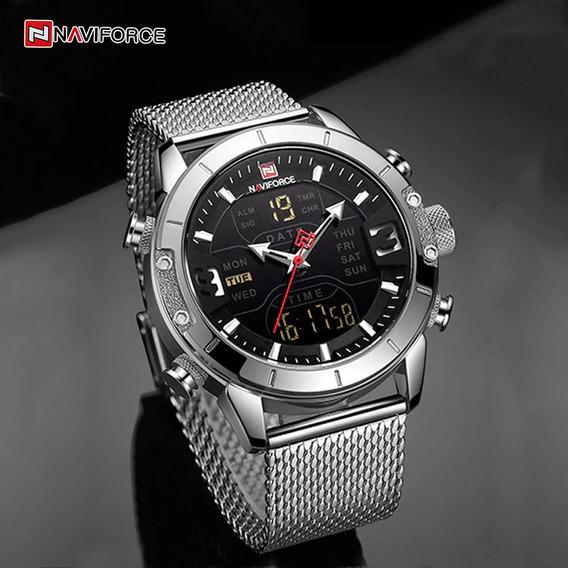 Relógio Naviforce Importado Original Modelo 9153 Prateado