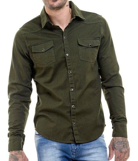 Camisa Jeans Camuflada Super Slim Fit Masculina Offert