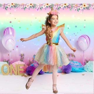 Vestido Fantasia Infantil Unicórnio Arco-íris Aniversario