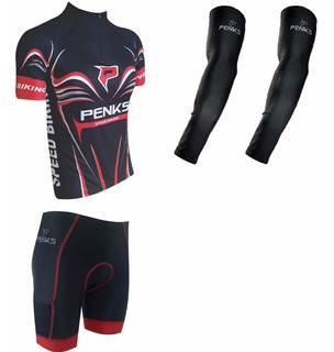Conjunto Speed Biking Vermelho Camisa+bermuda+manguito
