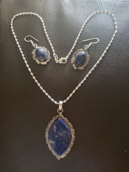 Collar, Aretes, Plata 925, Lapislázuli, Raro, Natural, Único