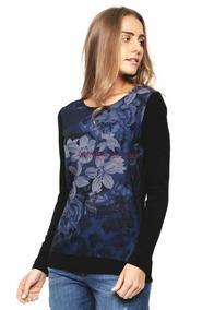 & Polera Desigual Flores Azul Negro L Con Envío