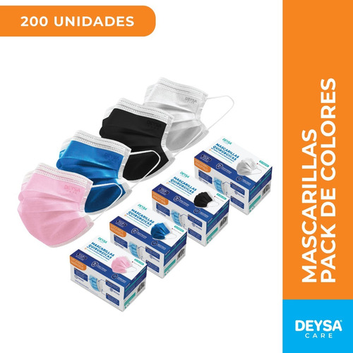 Mascarillas Desechables 50 Un 4 Cajas (200 Un). Deysa Colors