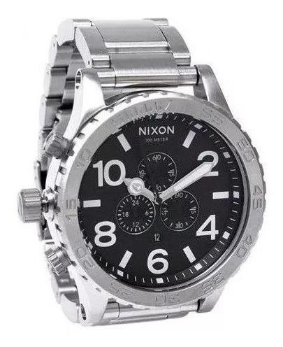 Relógio Gdm1515 Nixon 51-30 Prata Fundo Preto Com Caixa Top