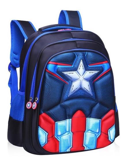 Bolsa Mochila Escolar Capitão América 3d Infantil Ultimato