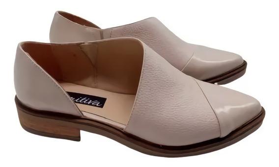 Chatitas Balerina Abierta Cuero Mujer Zapato Moda 107mk
