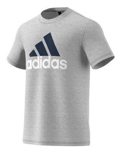 Camiseta adidas Masculina Mc Ess Linear Cinza S98738 Algodão