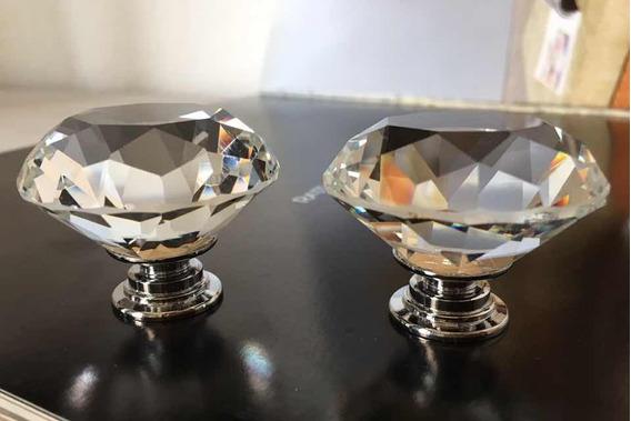 Perilla De Cristal Corte Diamante/40 Mm