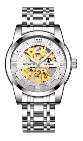 Relógio Tevise Automático Mecânico 9005 Prata Branco