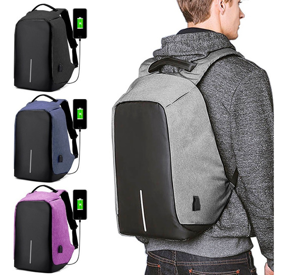 Mochila Antirrobo Carga Usb Impermeable Escolar Laptop 15