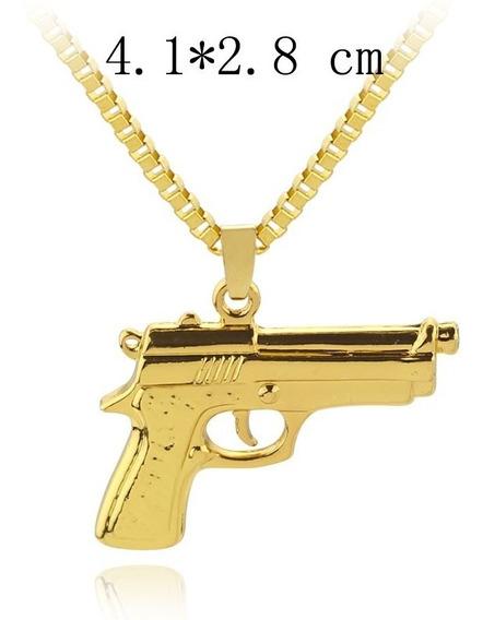 Colar Pingente Pistola Arma Corrente Folheado