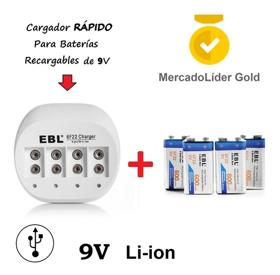 Combo   4 Baterias Recargables 9v 600mah + Cargador   Usb