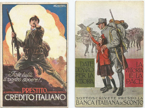 Lote De 2 Antiguas Postales Guerra Italia