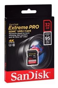 Cartão Sd Sandisk Extreme Pro 32gb U3 4k 95mb Eos Rebel Sony