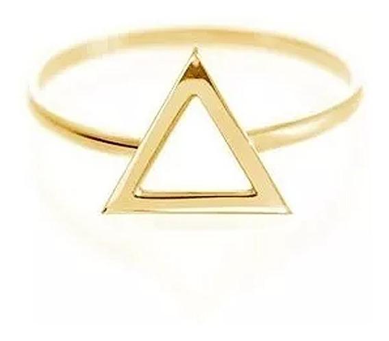 Anel Ouro 18k Feminino Solitário Joia Ouro Rosa Triangulo Geométrico Ouro Amarelo Ouro Branco Ouro Rosa Anel Meio Dedo