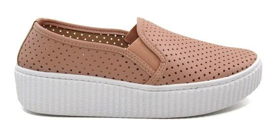 Tênis Slip On Feminino Flatform Olfer Shoes 3010 Furadinho