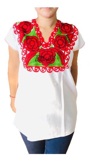 Blusa Bordada Artesanal Mexicana Talla Grande Y Extragrande