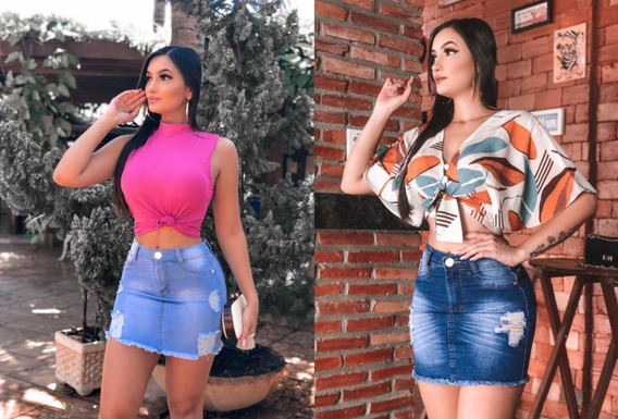 Jogo Saia Jeans Feminina Cintura Media Lycra - Premium