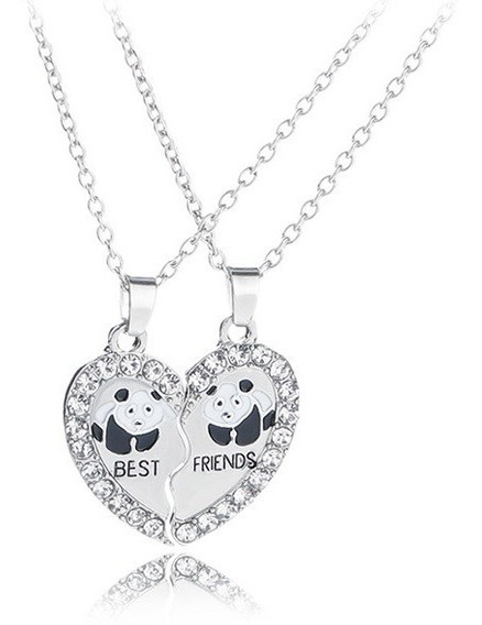 Urso Panda Ursinho De Strass Brilhante Dividir Repartir Com Seu Amor Corrente Pingente 3cm Pandinha Um Verdadeiro Charme
