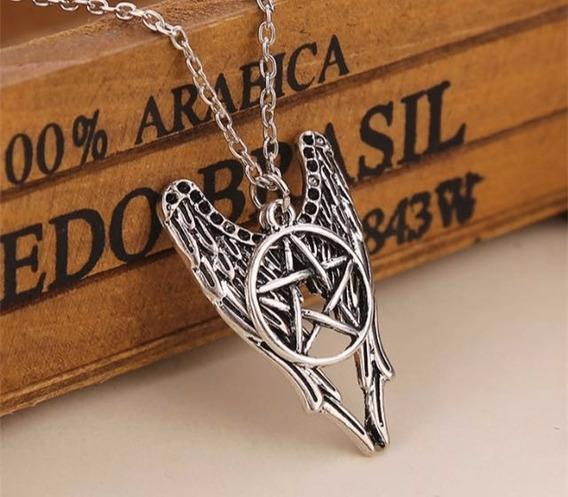 Colar Sobrenatural Spn Asas De Anjo Pentagrama