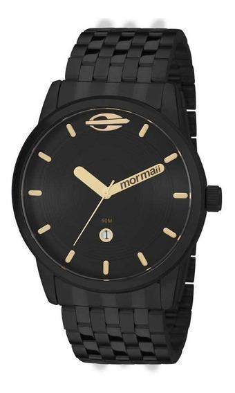 Relógio Masculino Mormaii Maui Preto Dourado Aço Metal Mo2115aa/4p Original C/ Estojo